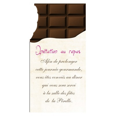 Carton d'invitation Tablette de Chocolat