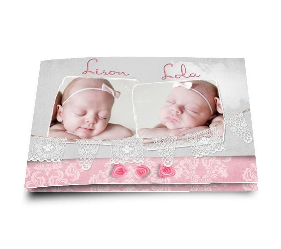 faire part naissance jumelles avec photo