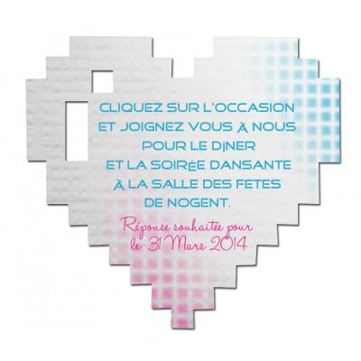 Carton d'invitation Coeur Pixel