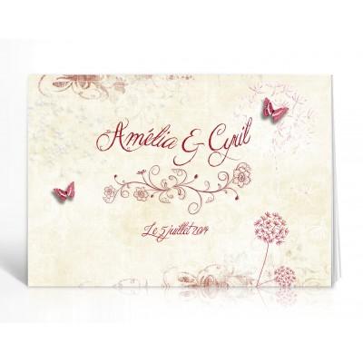 Livre d'or personnalisé Papillons romantique