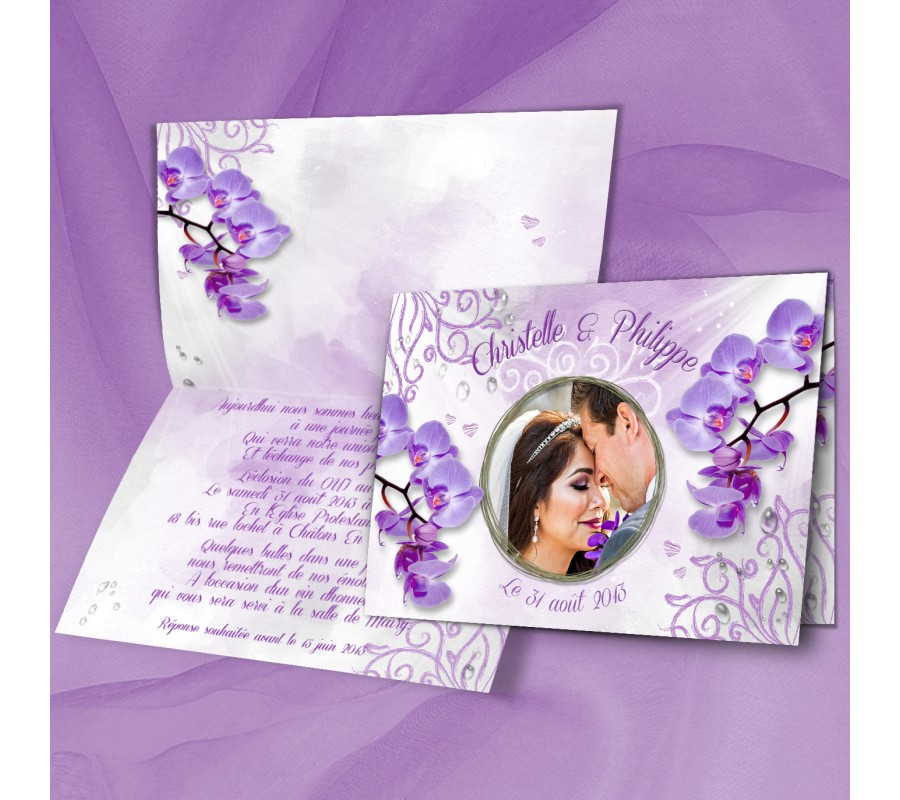 Relativ Faire part mariage Orchidée GI87