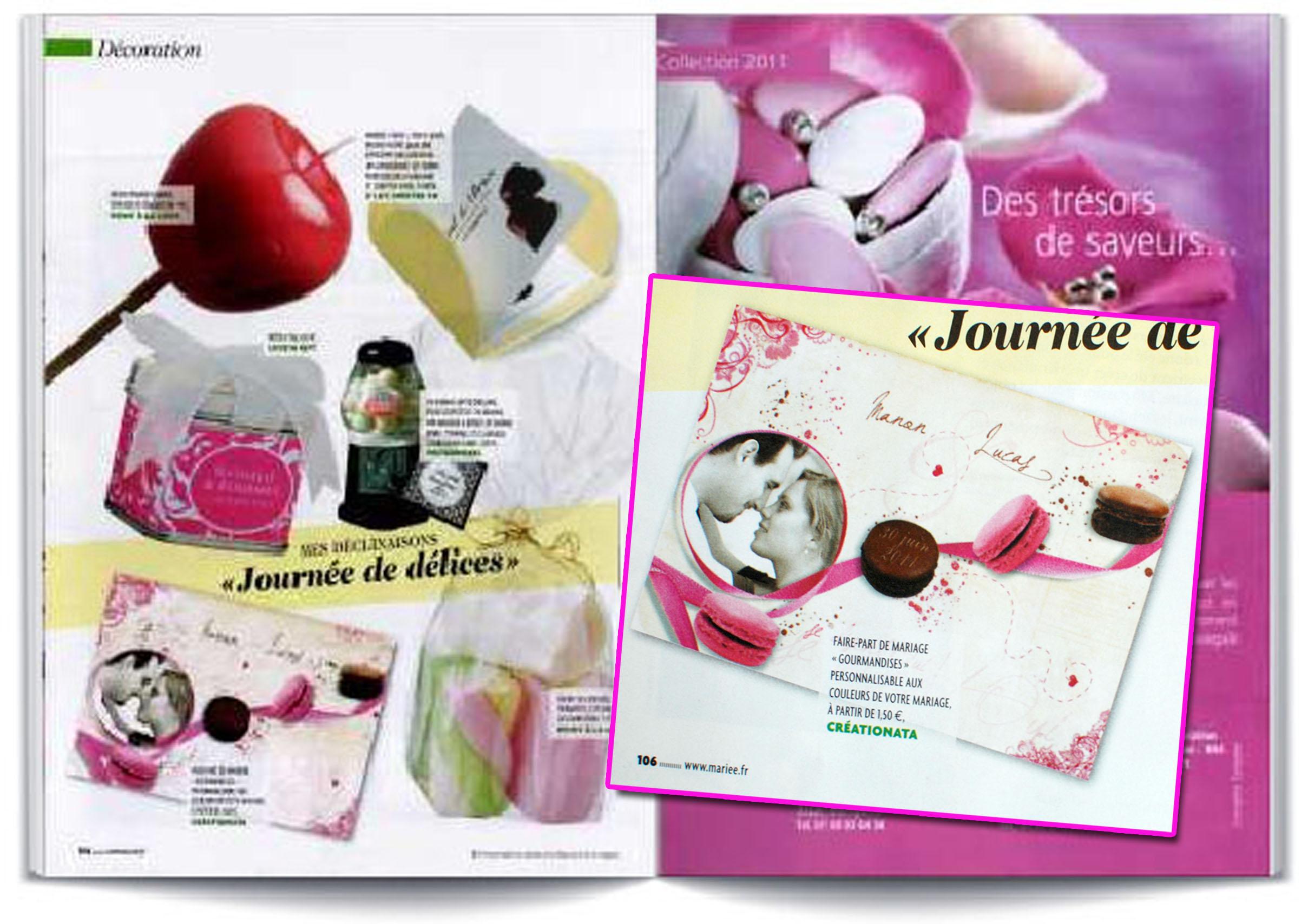 Presse mariée magazine macaron creationata faire part naissance mariage original avec photo
